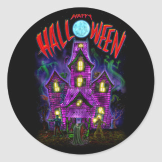 Happy Halloween Glowing Haunted House Sticker