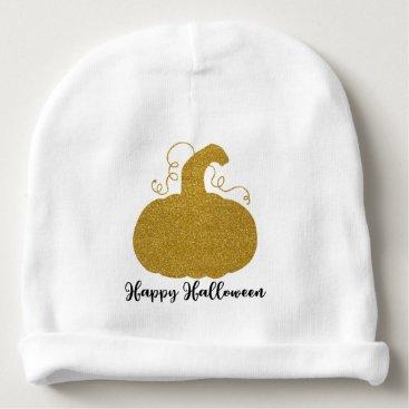 Halloween Themed Happy Halloween Gold Glitter Pumpkin Baby Beanie