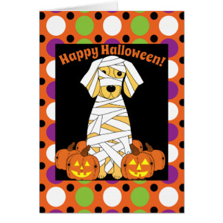 Happy Halloween Golden Retriever Mummy Card