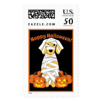 Happy Halloween Golden Retriever Mummy Stamps