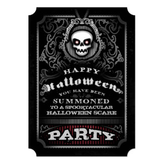 Happy Halloween Gothic Party Invite - Evil Skull