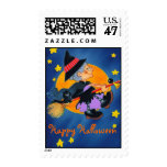 Happy Halloween Granny Good Witch ~ Postage Stamps