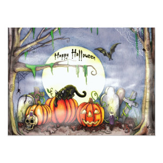 Happy Halloween Graveyard Scene Card