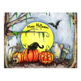 Happy Halloween Graveyard Scene Post Card