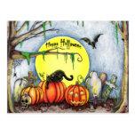 Happy Halloween Graveyard Scene Postcard