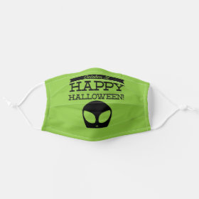 Happy Halloween Green Alien Cloth Face Mask
