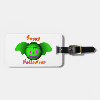 Happy Halloween Green Baseball Bat Bag Tag