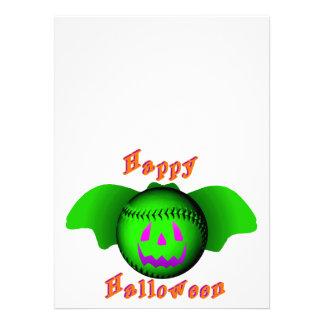 Happy Halloween Green Baseball Bat Custom Invitation