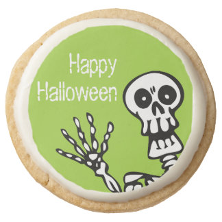 Happy Halloween Green Skeleton Party Round Shortbread Cookie
