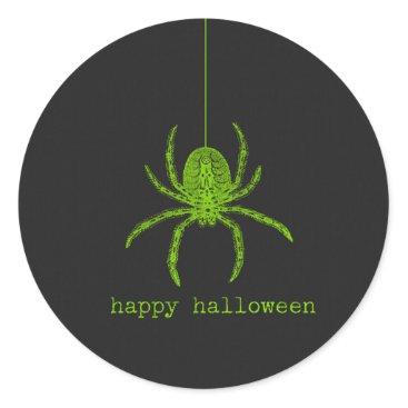 Halloween Themed Happy Halloween Green Spider Chalkboard Classic Round Sticker