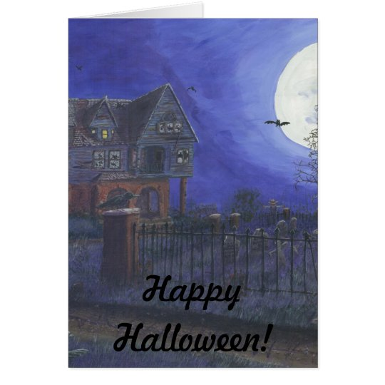 Happy Halloween Greeting Card Haunted House