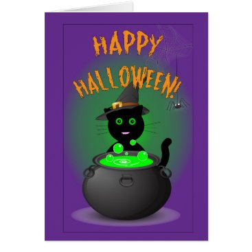 Halloween Themed Happy Halloween Greeting Card with Black Cat