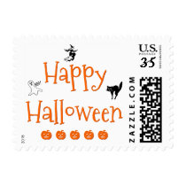 Happy Halloween Greetings Postcard Postage Stamp