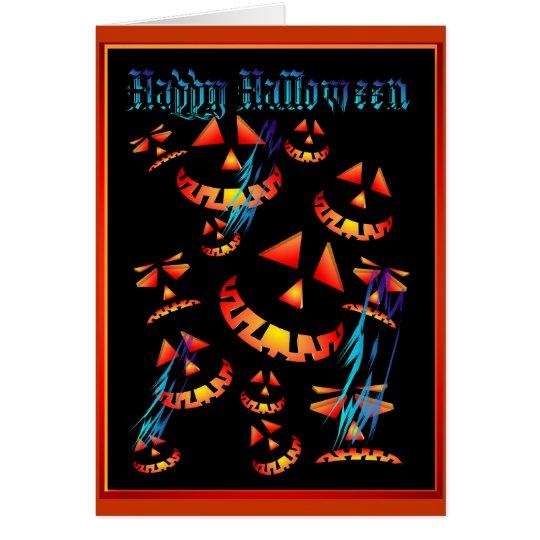 Happy Halloween Grinning Pumpkins..Card Card