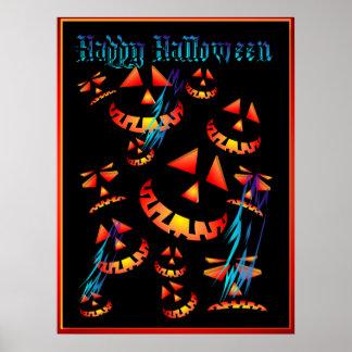 Happy Halloween Grinning Pumpkins..Posters Poster