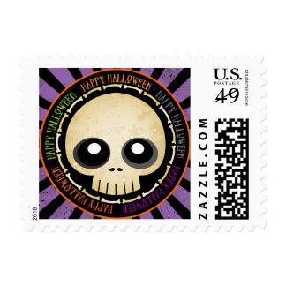Happy Halloween Grunge Skull & Bones Postage Stamp