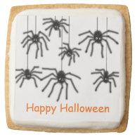 Happy Halloween Hairy Cartoon Spider Cookies Square Sugar Cookie