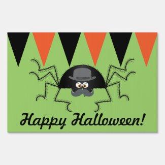 Happy Halloween Hairy Spider Yard Sign