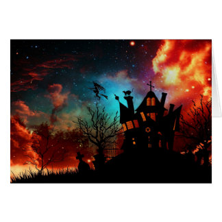 Happy Halloween Haunted House and Witch Card