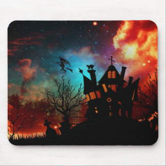Happy Halloween Haunted House and Witch Mouse Pad