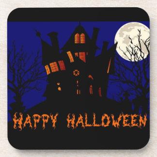 Happy Halloween Haunted House Beverage Coaster
