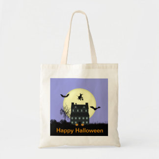 Happy Halloween Haunted House Fabric Tote