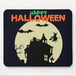 Happy Halloween Haunted House Mouse Pad