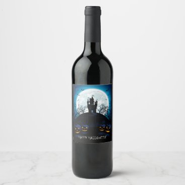 Halloween Themed Happy Halloween Haunted House On The Hill Wine Label