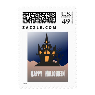 Happy Halloween Haunted House Postage