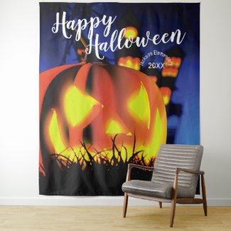 Happy Halloween Haunted Scene   Party Backdrop