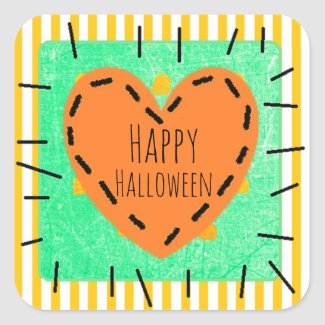 Happy Halloween Heart Cute Patch Stickers