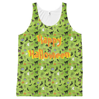 """""""Happy Halloween"""" Holiday Collage on Green All-Over Print Tank Top"""