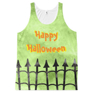 """""""Happy Halloween"""" Holiday Green Grunge and Fence All-Over Print Tank Top"""