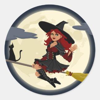 Happy Halloween holiday greeting design Classic Round Sticker
