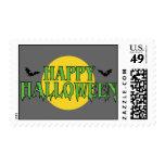 Happy Halloween in Green Postage
