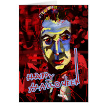 halloween, scary, evil, red, black, bela lugosi, dracula, blood, ooak, original design, ginette, invitation, halloween greetings, customized, modern, grunge, death, celebration, holidays, Card with custom graphic design