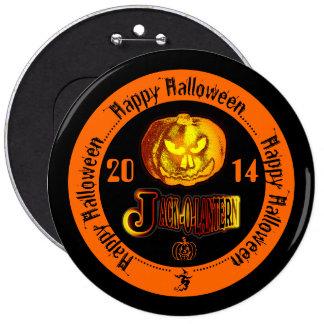 Happy Halloween Jack O Lantern 2014 Black & Orange Pinback Buttons