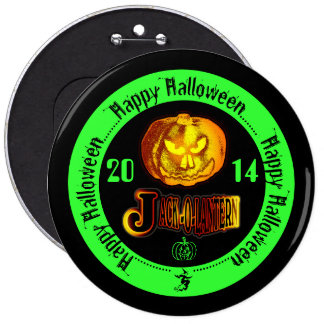 Happy Halloween Jack O Lantern 2014 Green Buttons