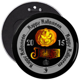 Happy Halloween Jack O Lantern 2015 Grey 6 Inch Round Button