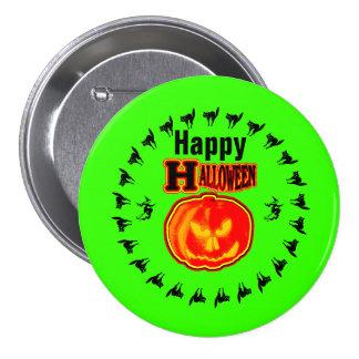 Happy Halloween! Jack - O - Lantern 4 Green Pinback Buttons