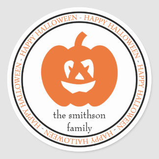 Happy Halloween Jack-O-Lantern (Black / Orange) Classic Round Sticker