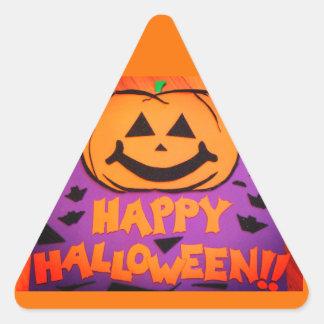 Happy Halloween Jack-O-Lantern Candy Corn Shaped Triangle Sticker