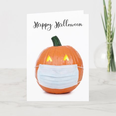 Happy Halloween Jack 'o Lantern in Face Mask Holiday Card