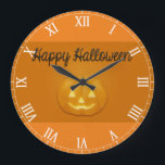 "Happy Halloween Jack O Lantern Large Clock<br><div class=""desc"">This Happy Halloween Jack O Lantern Clock will add some fun Halloween decor to any room.</div>"