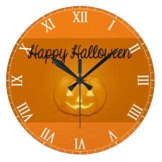 Happy Halloween Jack O Lantern Large Clock