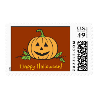 Happy Halloween Jack O' Lantern Postage Stamp