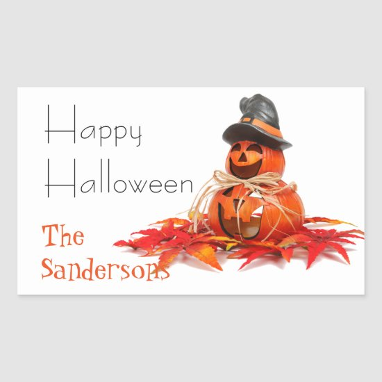 Happy Halloween Jack-O-Lantern Pumpkin Stickers