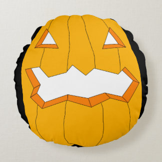 Happy Halloween-Jack-o'-lantern Round Throw Round Pillow