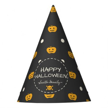 Halloween Themed Happy Halloween. Jack O Lantern White Polka Dots Party Hat