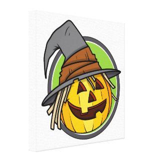 Happy Halloween Jack-O-Lantern Witch Canvas Print